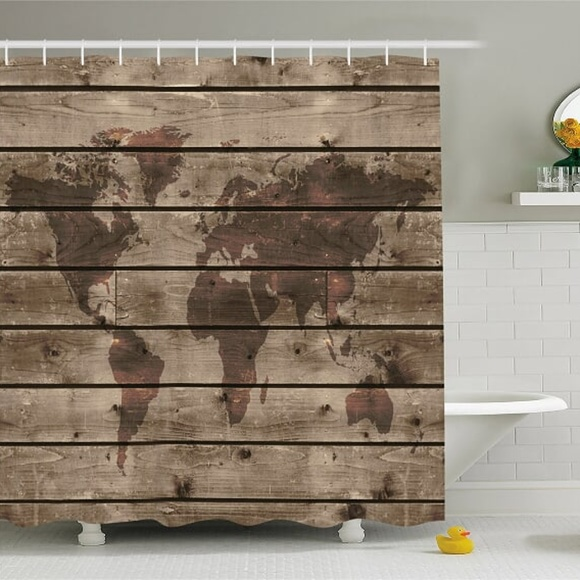 Shower Curtain Wooden Planks World Map Print